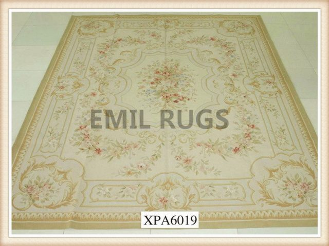 handmade 12' X 15' Ivory Field Multi-Colored Border flat weave aubusson carpet