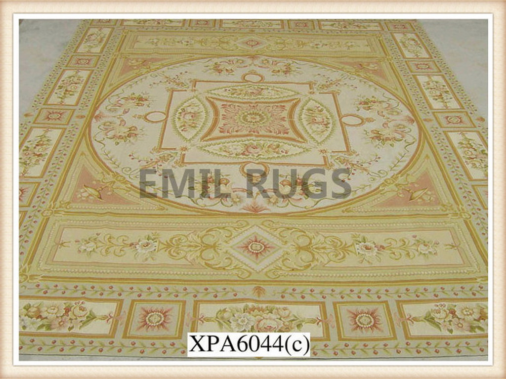authentic wool french 12' X 15' Multi-Colored Field Multi-Colored Border flat weave aubusson rugs