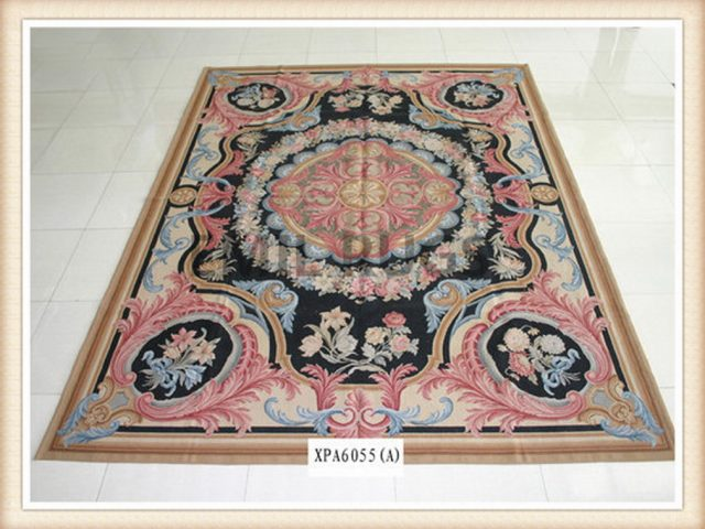 hand woven 12' X 15' Black Field Multi-Colored Border flat weave aubusson rug