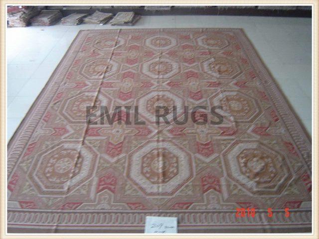 hand woven 12' X 18' Multi-Colored Field Multi-Colored Border  flat weave aubusson carpet