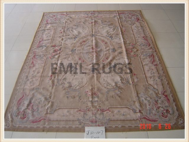 handmade 12' X 18' Multi-Colored Field Multi-Colored Border flat weave aubusson rugs