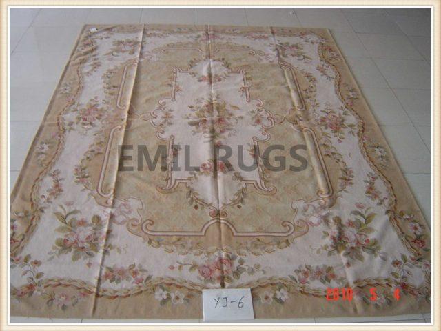 authentic wool french 12' X 18' Aqua Field Ivory Border flat weave aubusson carpets