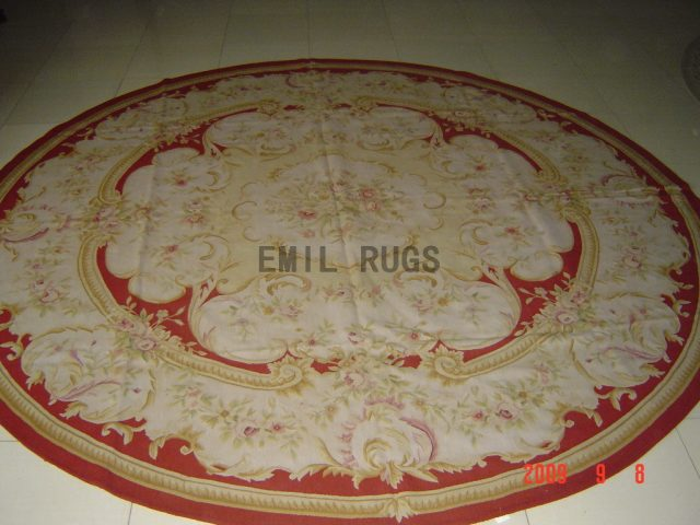 hand woven Round 12' X 12' Red Field Ivory Border  flat weave aubusson rug