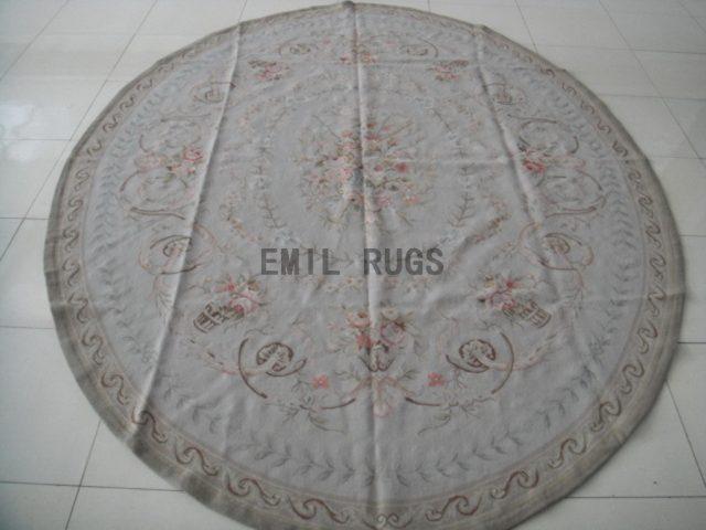 handmade Round 8' X 8' Ivory Field Ivory Border flat weave aubusson rugs