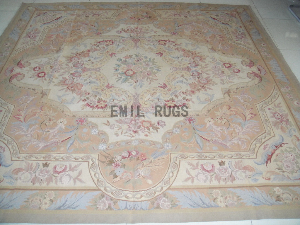 handmade Square 7' X 7' Ivory Field Ivory Border  flat weave aubusson rugs