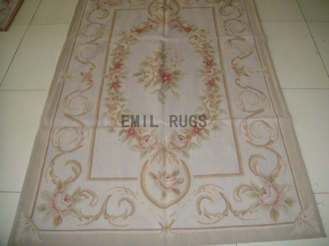 authentic wool french 4' X 6' Ivory Field Ivory Border flat weave aubusson carpets