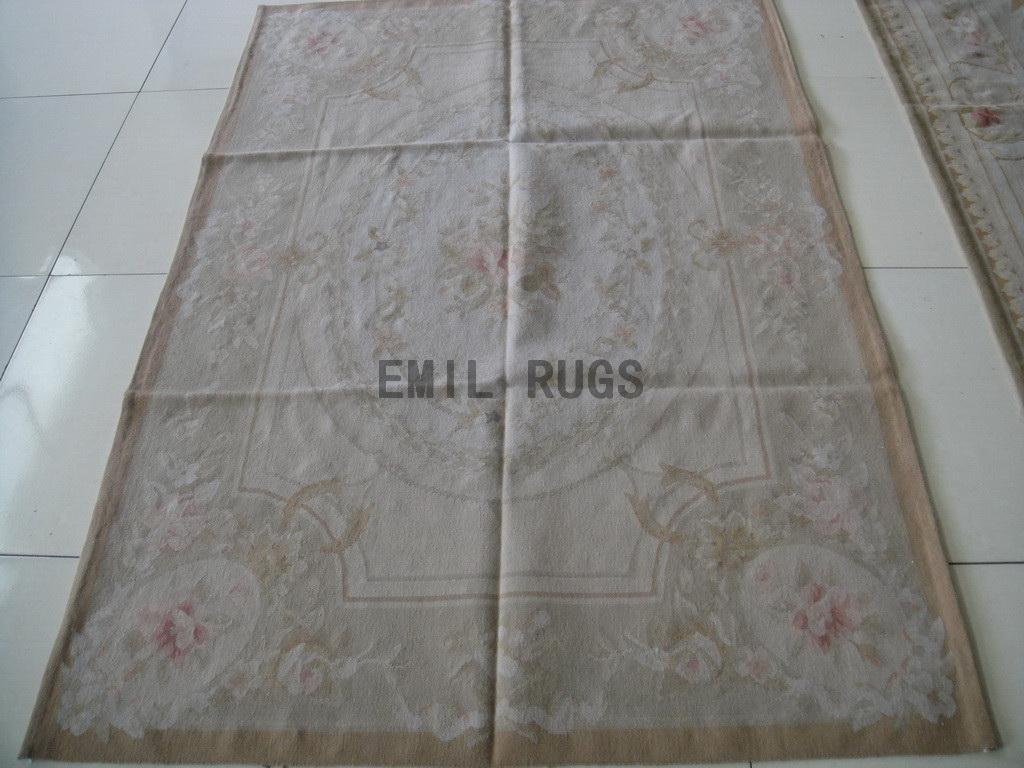 hand woven 4' X 6' Ivory Field Ivory Border flat weave aubusson rugs