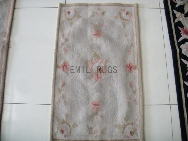 handmade 1.6' X 2.7' Ivory Field Ivory Border flat weave aubusson rugs