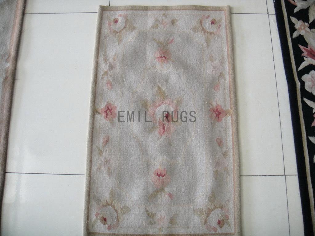 handmade 1.6' X 2.7' Ivory Field Ivory Border flat weave aubusson rugs