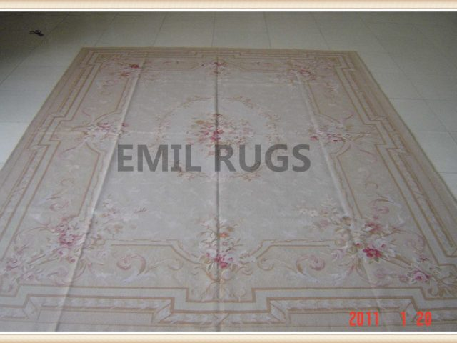 hand woven 4' X 6' Ivory Field Ivory Border flat weave aubusson rug
