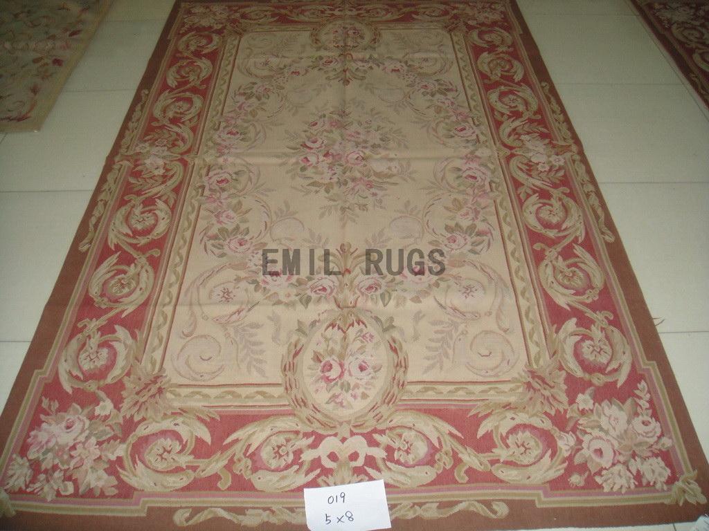 handmade 5' X 8' Yellow Field Red Border flat weave aubusson rug