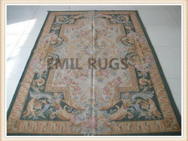 hand woven 5' X 8' Ivory Field Green Border flat weave aubusson carpets