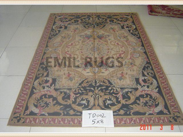 hand woven 5' X 8' Ivory Field Black Border flat weave aubusson carpet