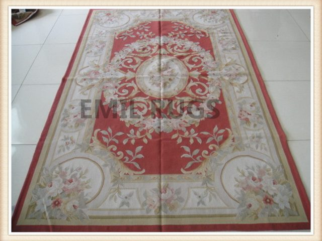 authentic wool french 5' X 8' Red Field Ivory Border flat weave aubusson rugs