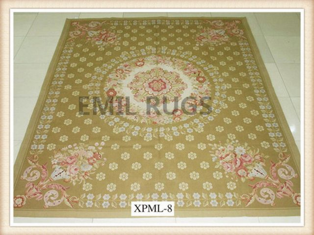 authentic wool french 5' X 8' Beige Field Beige Border flat weave aubusson carpet