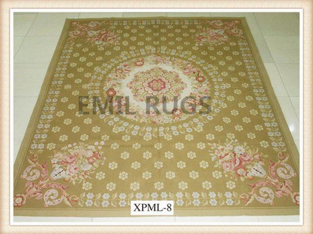 authentic wool french 5' X 8' Beige Field Beige Border flat weave aubusson carpet