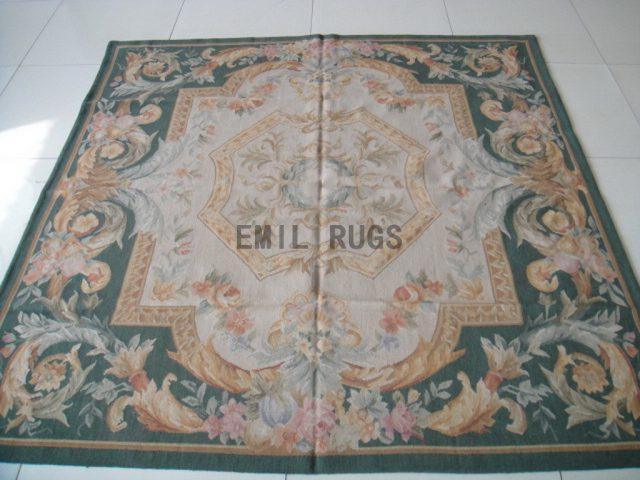 hand woven 6' X 6' Ivory Field Green Border flat weave aubusson carpets
