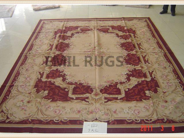 hand woven 6' X 9' Purple Field Ivory Border flat weave aubusson carpet