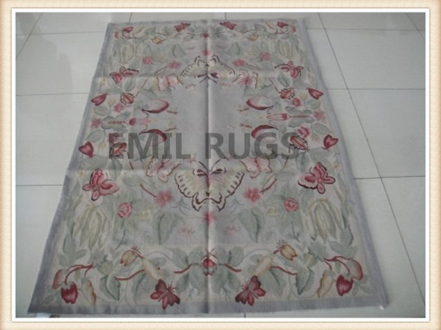authentic wool french 6' X 9' Ivory Field Ivory Border flat weave aubusson carpets
