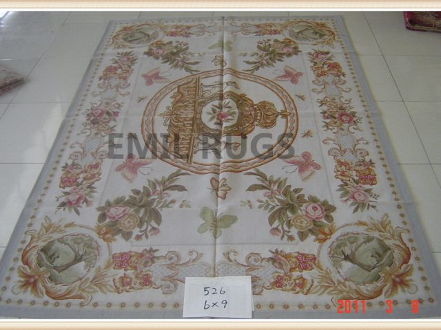 authentic wool french 6' X 9' Ivory Field Ivory Border flat weave aubusson carpet
