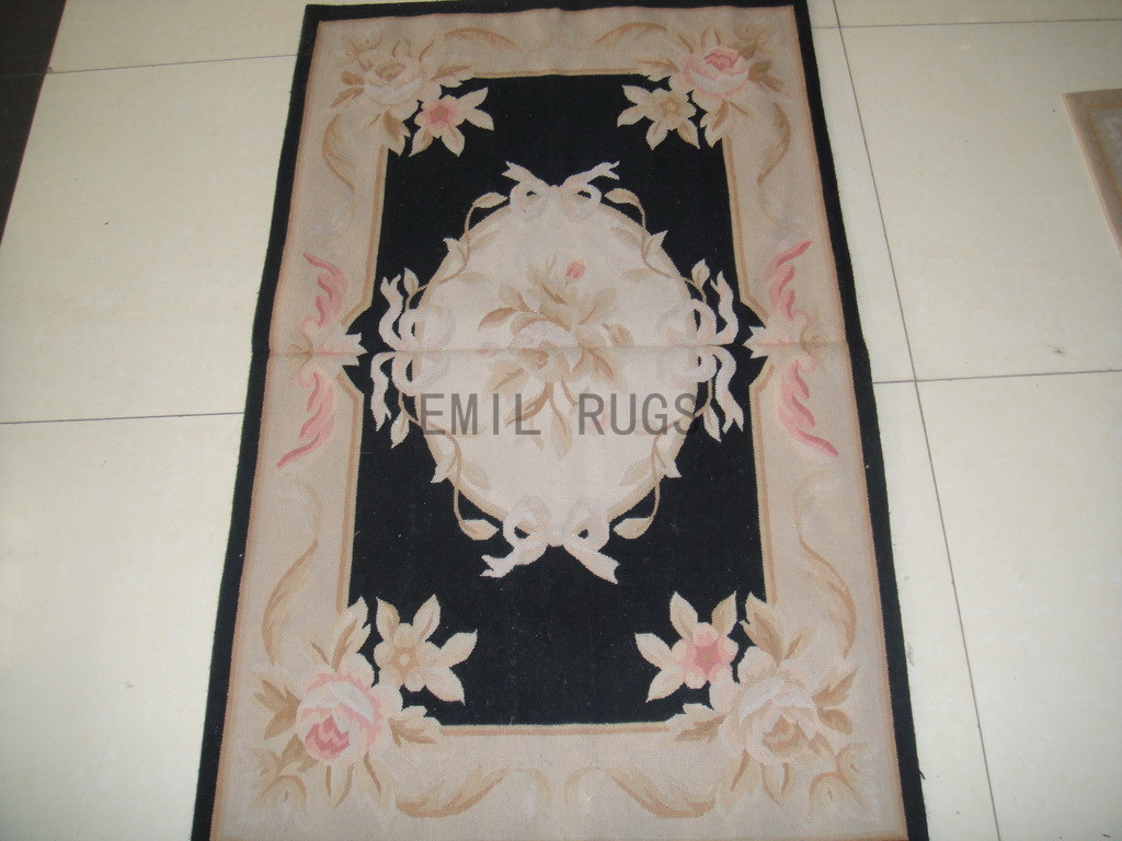 authentic wool french 2.5' X 4.6' Black Field Ivory Border flat weave aubusson carpets