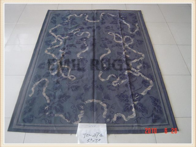 handmade 6' X 9' Blue Field Blue Border flat weave aubusson carpet