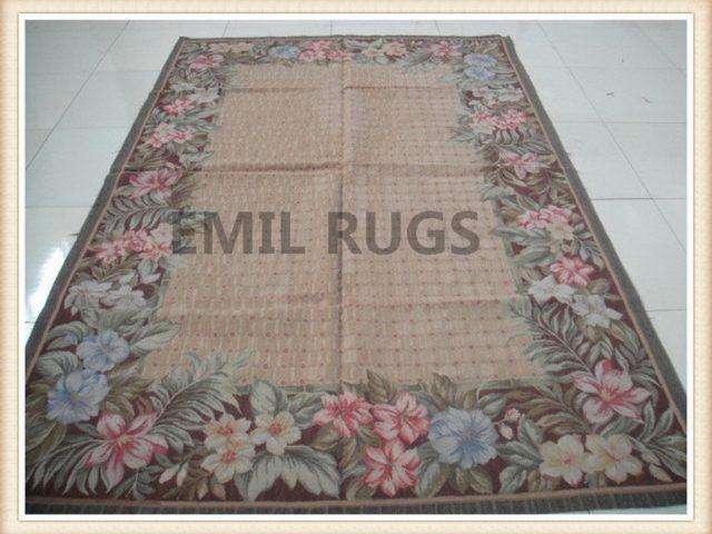 handmade 6' X 9' Beige Field Brown Border flat weave aubusson rugs