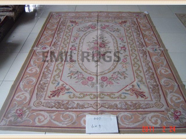 hand woven 8' X 10' Ivory Field Pink Border flat weave aubusson carpets