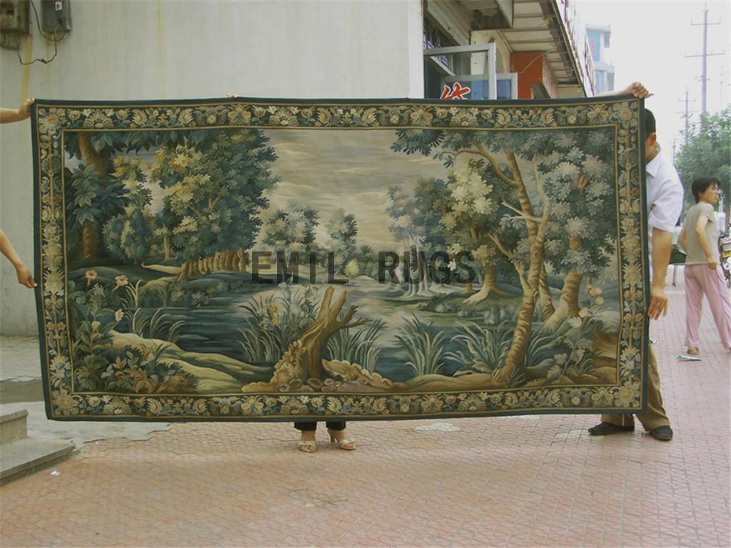 wool antique european french aubusson gobelin 4.96'x 9.35' wall tapestries
