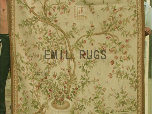 wool antique authentic aubusson gobelin 4.7'x 7' art tapestries