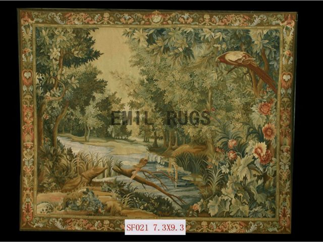 wool antique handmade aubusson gobelin 7.4'x 9.3' art tapestry