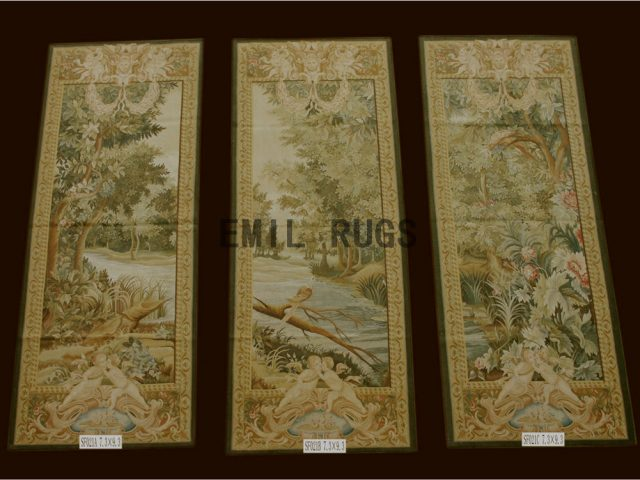 wool antique flat weave aubusson gobelin 3.4'x 8' tapestry wall hangings