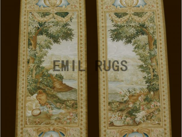 wool antique handmade aubusson gobelin 2.6'x 6.5' tapestries wall hangings