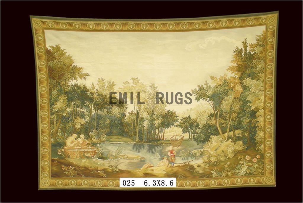 wool antique european french aubusson gobelin 6.3'x 8.6' wall tapestries