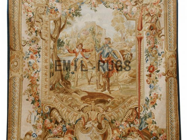 wool vintage european french aubusson gobelin 8'x 10' tapestry wall hangings