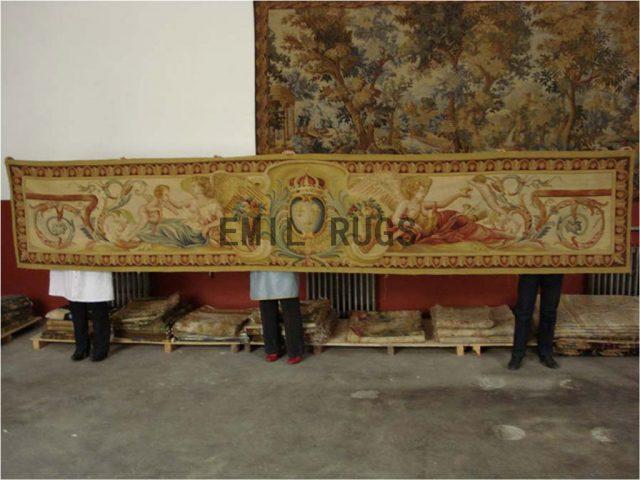 wool antique flat weave aubusson gobelin 2.8'x 11.75' wall tapestry