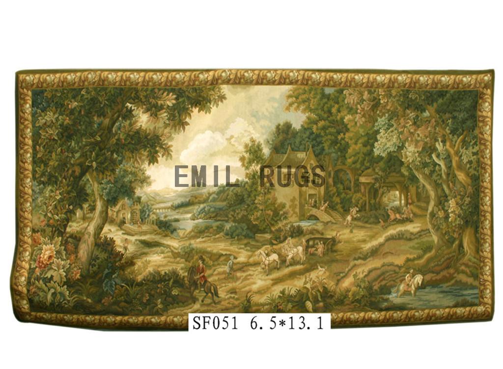 wool antique handmade aubusson gobelin 6.5'x 13.2' wall tapestries