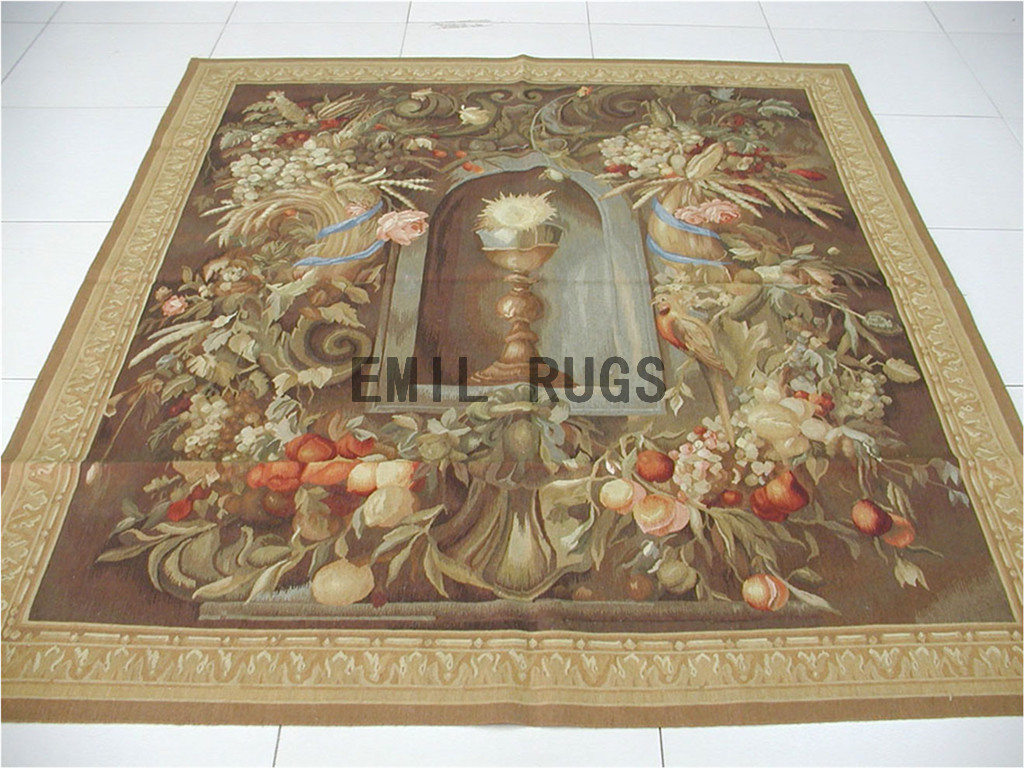 wool antique european french aubusson gobelin 5.65'x 6.4' wall tapestry
