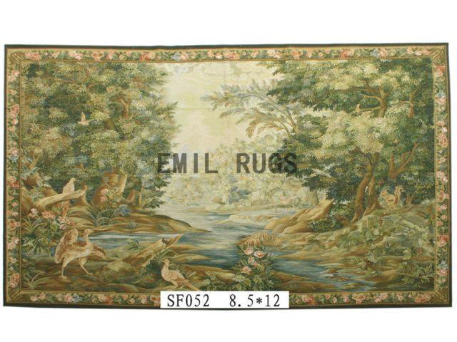 wool antique flat weave aubusson gobelin 8.5'x 12' art tapestries