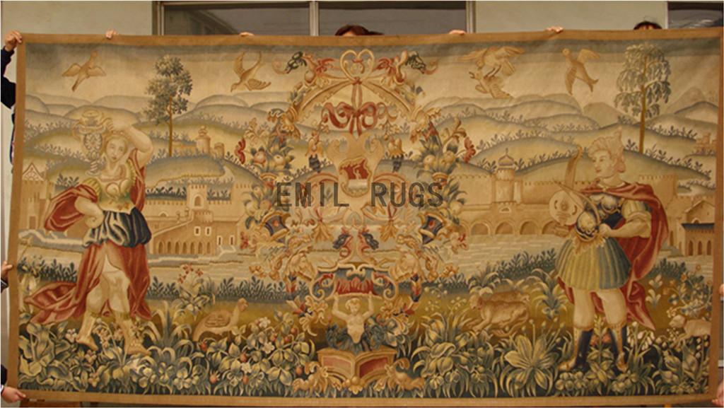 wool vintage flat weave aubusson gobelin 6.2'x 11.83' wall tapestry
