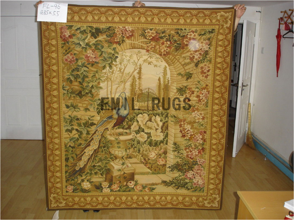wool antique european french aubusson gobelin 4.9'x 6.5' wall tapestry