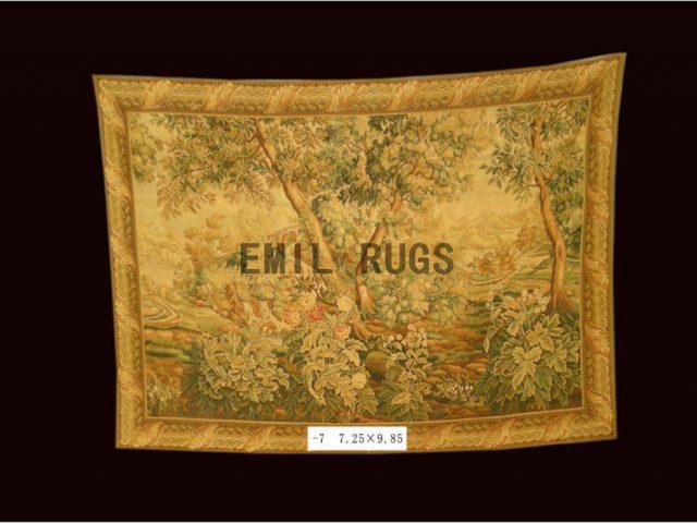 wool vintage flat weave aubusson gobelin 7.2'x 9.85' art tapestry