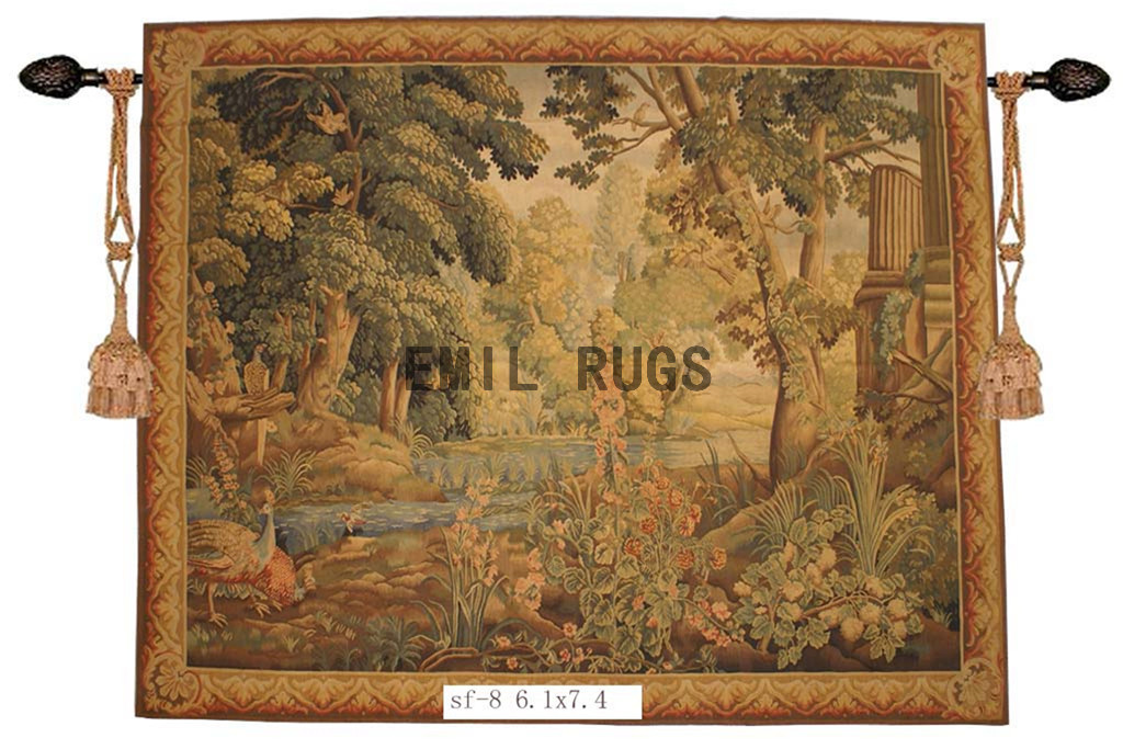 wool antique european french aubusson gobelin 6.1'x 7.4' tapestry wall hangings