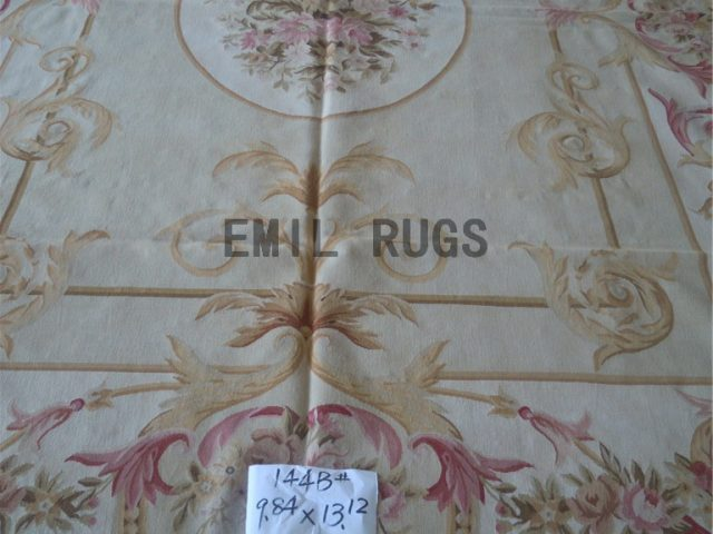 flat weave aubusson rug 9.8' X 13' Ivory Field Ivory Border hand woven