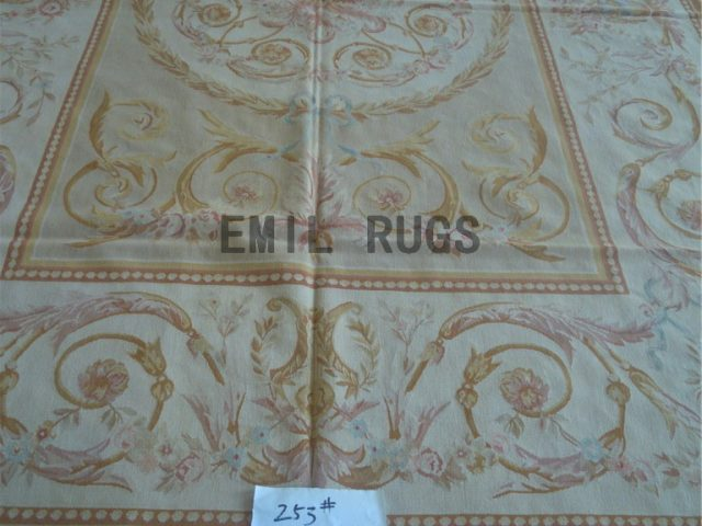flat weave aubusson carpets 9.8' X 13' Ivory Field Ivory Border hand woven