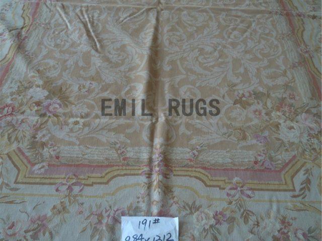flat weave aubusson carpet 9.8' X 13' Ivory Field Ivory Border handmade