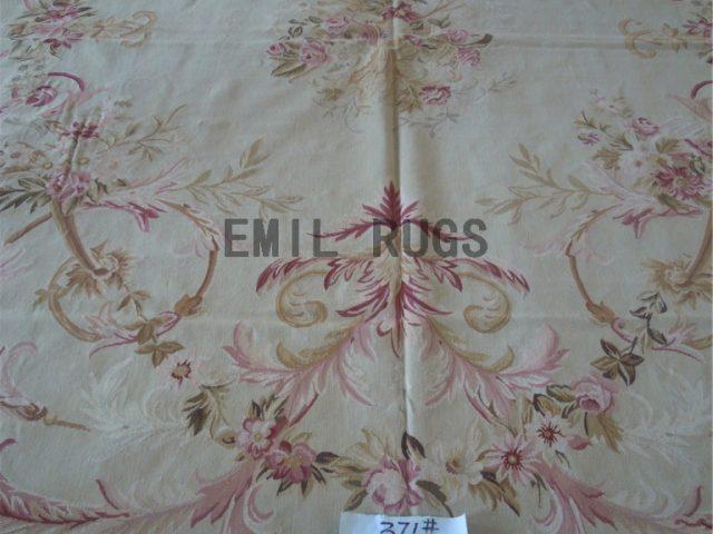 flat weave aubusson carpet 9.8' X 13' Ivory Field Ivory Border hand woven
