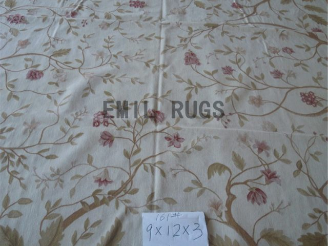flat weave aubusson rugs 9' X 12' Ivory Field Brown Border hand woven