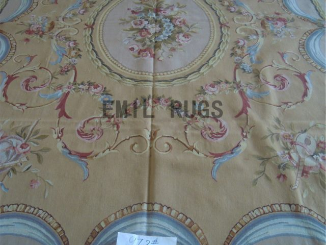flat weave aubusson rugs 9' X 12' Yellow Field Ivory Border hand woven