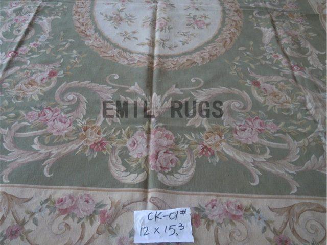 flat weave aubusson rug Oversized 12' X 15.3' Ivory Field Ivory Border handmade